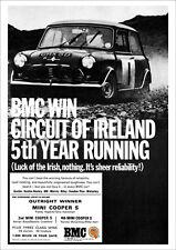 MINI COOPER S CIRCUIT OF IRELAND WINNER A3 RETRO POSTER PRINT FROM 60'S ADVERT