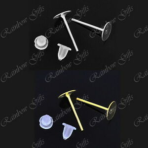 6mm FLAT PAD EARRING POSTS WITH RUBBER STOPPER BACKS SILVER PLATED GOLD PLATED