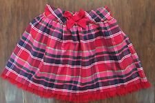 f599032001 Hartstrings Girls 5 Red Tartan Plaid Silk Blend Skirt Tulle Hem EUC Holiday