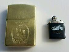 RARE Harley Davidson Zippo Solid Brass 1932 1989 & Panhead Hardtail Mini