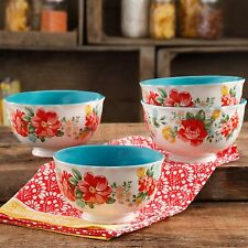 """The Pioneer Woman Vintage Floral 6"""" Stoneware Footed Bowl Set, Set of 4 NEW"""