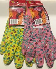 2 Pairs Ladies Gardening Gloves Pink And Yellow One Size