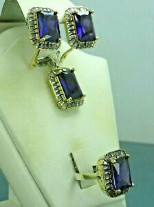 Turkish Handmade Jewelry 925 Sterling Silver Amethyst Stone Women Earring Set
