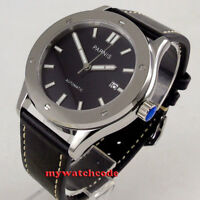 42mm PARNIS black dial Sapphire glass 24 jewels Japan NH35 automatic mens watch