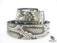 "PELGIO Real Genuine Burmese Python Snake Skin Leather Men Belt 46"" Long Natural"