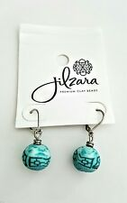 JILZARA PREMIUM CLAY BEAD TURQUOISE  BLUE TEAL DROP BALL EARRINGS  WOMENS GIFT