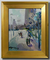 JOSE TRUJILLO FRAMED Oil Painting Modern Impressionist BUILDINGS FIGURES ART