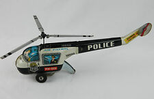 "Vtg 13"" Tin Friction Police Air Patrol  Helicopter TN Nomura Toys Japan works"