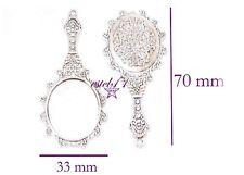 2 colgantes espejo con base camafeo 70x33mm interior 28x23mm plata tibetana
