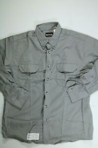 Men's Bulwark Gray Long Sleeve Flame Resistant Button Up Shirt XL NEW!
