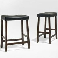 """Crosley 24"""" Faux Leather Saddle Counter Stool in Mahogany (Set of 2)"""