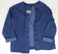 Pure J Jill Indigo sz Small Snap Front 100% Cotton Womens Jacket w/ Pockets Blue