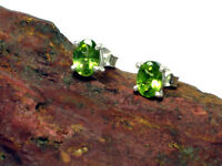 PERIDOT   Sterling  Silver  925  Gemstone  Earrings / STUDS  -  Gift  Boxed!