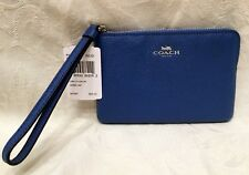 New COACH Lapis BLUE Crossgrain LEATHER Corner Zip Wristlet Purse F58032 $75