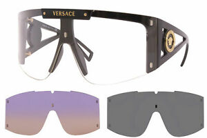 Versace 4393 GB1/1W Sunglasses Black/Clear w/Extra 2pc Interchangeable Lenses
