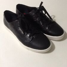 CALVIN KLEIN Imilia Lace-Up Leather women's Sneaker Slip on Black Sz 6