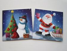 Pack of 10 Charity Christmas Cards with Envelopes 2 Designs Santa & Snowman