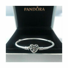 Genuine Silver Pandora Moments Family Tree Heart Clasp Snake Chain Bracelet