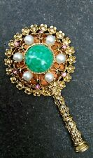 VINTAGE BOUTIGUES BY DAFRI CANADA.GOLD METAL PLATED SET FAUX JEWELS HAND MIRROR