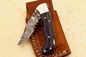 Custom Handmade Damascus steel Hunting Folding knife - # W-758