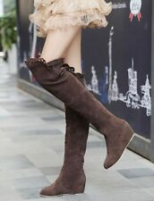 Fall Women's Faux Suede Pull On Hidden Wedge Over The Knee High Boots Prom