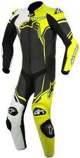 Alpinestars GP Plus traje de una pieza de cuero negro/blanco/amarillo Tamaño Euro 58