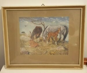 Old Vintage Framed Print of Horses & Foals 'Young Dignity' by Muriel Dawson