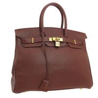 HERMES BIRKIN 35 Hand Bag □A 10 X Purse Brown Taurillon Clemence France M13920b