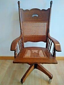Antique Victorian Oak & Cane Office Desk Chair
