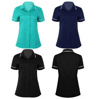 Women Medical Uniform Turn-down Collar Hospital Nurse Scrub Lab Coat Uniform Top