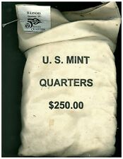 Scarce Mint Sewn Bag of $250.00 Face Value Lincoln 2003-P Illinois Quarters