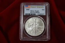 2005 AMERICAN SILVER EAGLE, PCGS MS69, FIRST STRIKE, UNITED STATES BULLION COIN