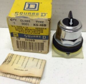 Square D 9001KS46B Series H Selector Switch with Black Knob