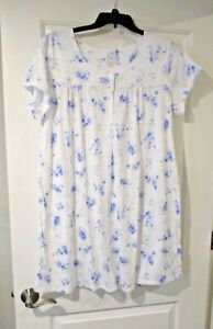 Aria womens short sleeve nightgown size XL periwinkle floral print