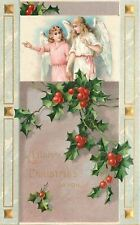 Christmas~Pink White Angels Hold Hands In Portal~Holly Berry~Gold Emboss~Germany