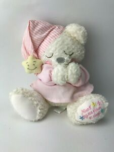 "First & Main Prayer Bear Pink White Plush Soft 11""  Now I lay me Down sleep  t43"