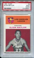 1961 Fleer Basketball #3 Elgin Baylor Rookie Card RC Graded PSA MINT 9 MC Lakers