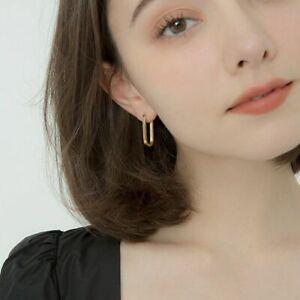 Woman Rectangular Earrings Ear Buckle Female Hoop Earrings Oval Shape Jewelry p