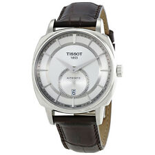 Tissot T-Lord Automatic Silver Dial Black Leather Mens Watch T0595281603100