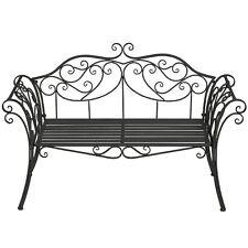 Gardman 20146 Ornate Black Metal Garden Bench Seat Chair Patio Furniture Steel