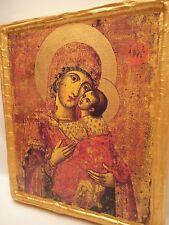 Virgin Mary Jesus Christ Rare Greek Eastern Orthodox Icon Art on Real  Wood