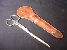 Old Vtg Art Deco Scissors Sheers With Leather Case Forced Steel