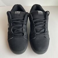 DC Shoes - Mens Leather Skateboard Shoe 320274 - Size 7.5 Black Grey Logo