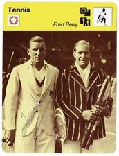 Fred Perry signed 1977 Tennis Sportscaster Reconte Fact Card British Legend