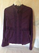 French Connection 100% cotton mandarin collar  tunic Richelieu lace top Purple S