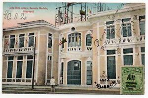 1923 ECUADOR TO ARGENTINA RARE CALLE ALFARO MODELO SCHOOL POSTCARD !!