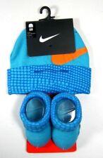 Nike Baby Hat Cap Booties Blue 0-6 Months Gift Set