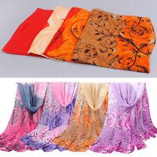 LC_ femmes mode fleur rose long châle en mousseline de soie TURBAN arabe écharpe