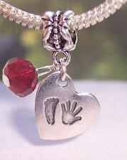 January Birthstone Hand Print Footprint Heart Baby Charm for European Bracelets