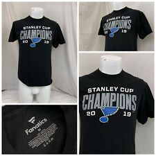 St. Louis Blues Shirt M Black Short Sleeve 100% Cotton Stanley Cup YGI U0-404